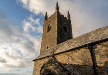 Stone Tower Of Church Of St Morwenna And St John The Baptist In In Morwenstow, Cornwall