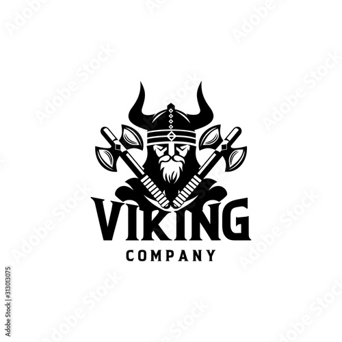 Viking warrior logo design vector illustration Canvas Print