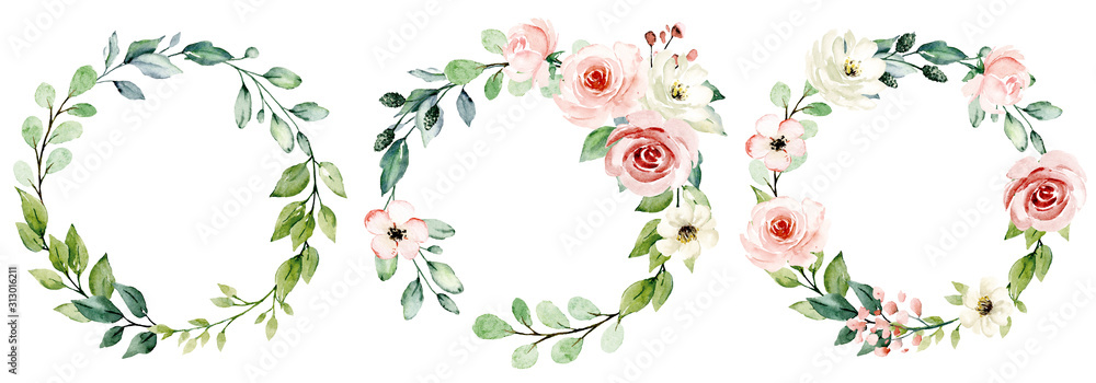 Fototapeta Wreaths, floral frames, watercolor flowers pink roses, Illustration hand painted. Isolated on white background. Perfectly for greeting card design.