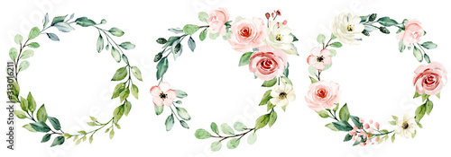 Fototapeta Wreaths, floral frames, watercolor flowers pink roses, Illustration hand painted. Isolated on white background. Perfectly for greeting card design. obraz