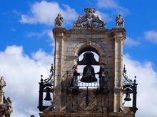 Bell Tower Of The Church On The Road To Santiago De Compostela, Camino De Santiago, Way Of St. James, Journey From San Martin Del Camino To Astorga, French Way, Spain