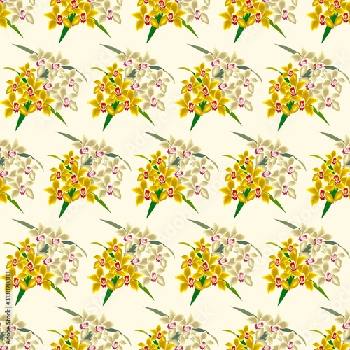 Fototapety, obrazy: The vector seamless pattern. Cute orchid bouquet pattern. Vector for wallpaper, child apron, fabric, textile pattern. Endless print. Background illustration vector.