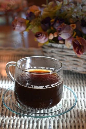 hot americano black coffee drink put on table in the morning day