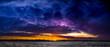 canvas print picture - winter sunset panorama landscape nature clouds horizon sun blue hour
