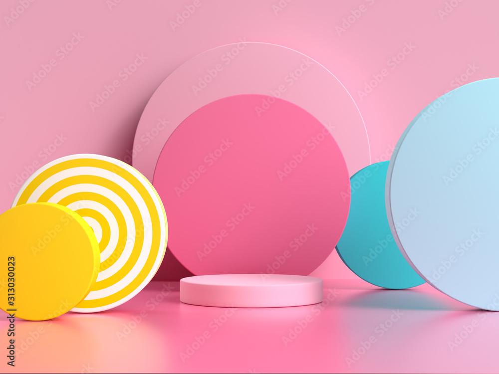 Fototapeta pink blue yellow geometric shape pattern colorful 3d render scene