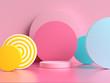 Leinwanddruck Bild - pink blue yellow geometric shape pattern colorful 3d render scene