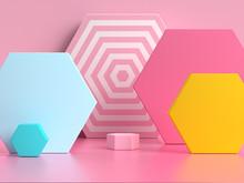 Pink Blue Yellow Geometric Shape Pattern Colorful 3d Render Scene
