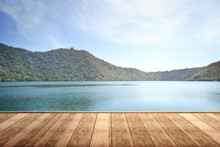Wooden Terrace With Lake And M...