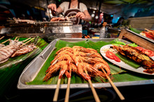 Sea Food At Krabi Walking Street In Krabi Town, Thailand.