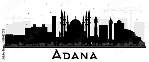 Adana Turkey City Skyline Silhouette with Black Buildings Isolated on White Canvas Print