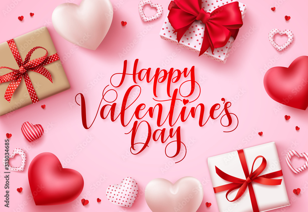 Fototapeta Happy valentines day vector background. Happy valentines day greeting text with hearts and gifts elements in pink space background template. Vector illustration
