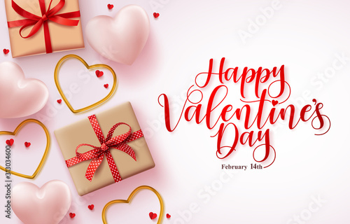 Obraz Happy valentines day greeting card vector background. Happy valentines day text in white empty space with heart shapes and gifts elements design template. Vector illustration. - fototapety do salonu