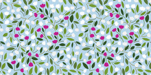 Spring Flowery Pattern With White, Pink Tulips, Leaves On A Pastel Blue Background. Seamless Floral Print For Wrapping, Textile, Wallpaper, Covers...Delicate Botanical Design. Vector Flourish Texture.