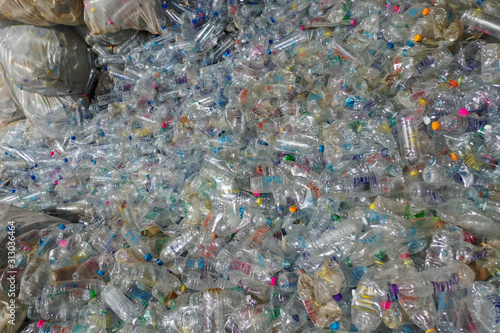 Plastic bottles piled up for recycling  © Richard Carey