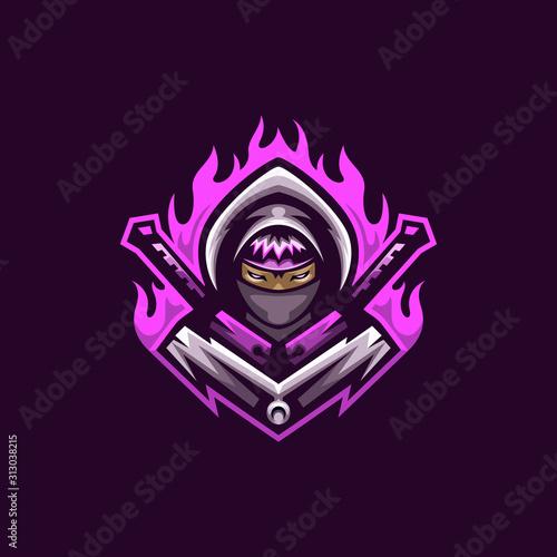 ninja assassin logo mascot vector template, mascot gaming logo, assassin woman l Canvas Print