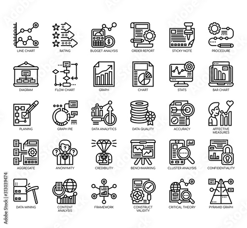 Fototapeta Set of research and analysis thin line and pixel perfect icons for any web and app project. obraz