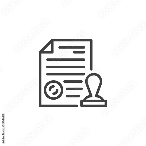 Photo Document file with an official stamp line icon