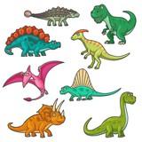 Fototapeta Dinusie - Cartoon dinosaur characters, funny dinos. Vector triceratops, tyrannosaurus, stegosaurus and brontosaurus, pterodactyl, parasaurolophus and spinosaurus, diplodocus and ankylosaurus