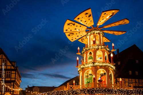Weihnachtsmarkt Quedlinburg Harz Abendstimmung Canvas Print