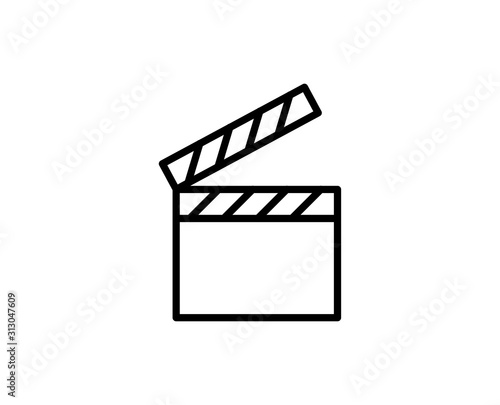 Canvas Print Clapperboard line icon