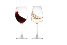 Glass Of White Wine And A Glass Of Red Wine On A White Background.