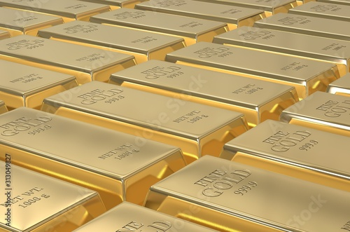 Fotomural Stack of gold bars, weight of Gold Bars 1000 grams Concept of wealth and reserve