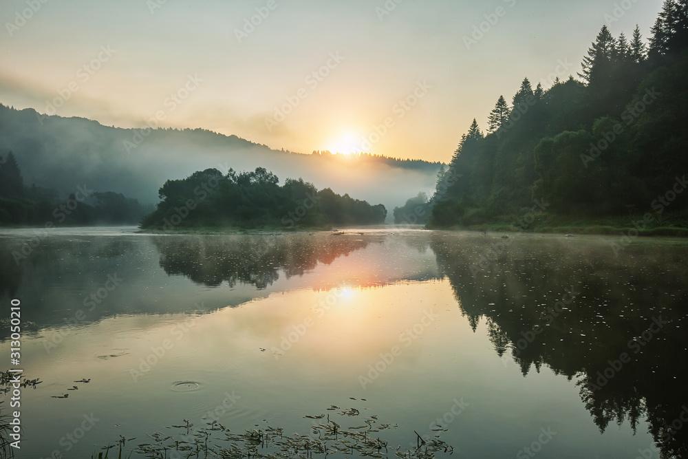 Fototapeta Summertime morning by the river, outdoor background