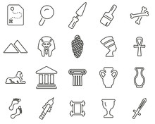 Archaeology Icons Thin Line Set Big