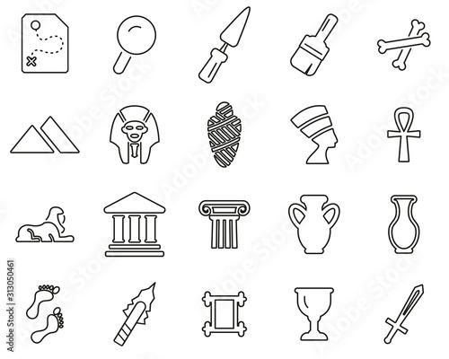 Canvastavla Archaeology Icons Thin Line Set Big