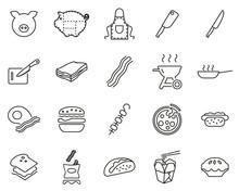 Bacon Icons Thin Line Set Big