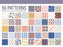 50種類の幾何学模様のシームレスパターン