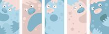Cartoon Monster Faces Set. Vec...