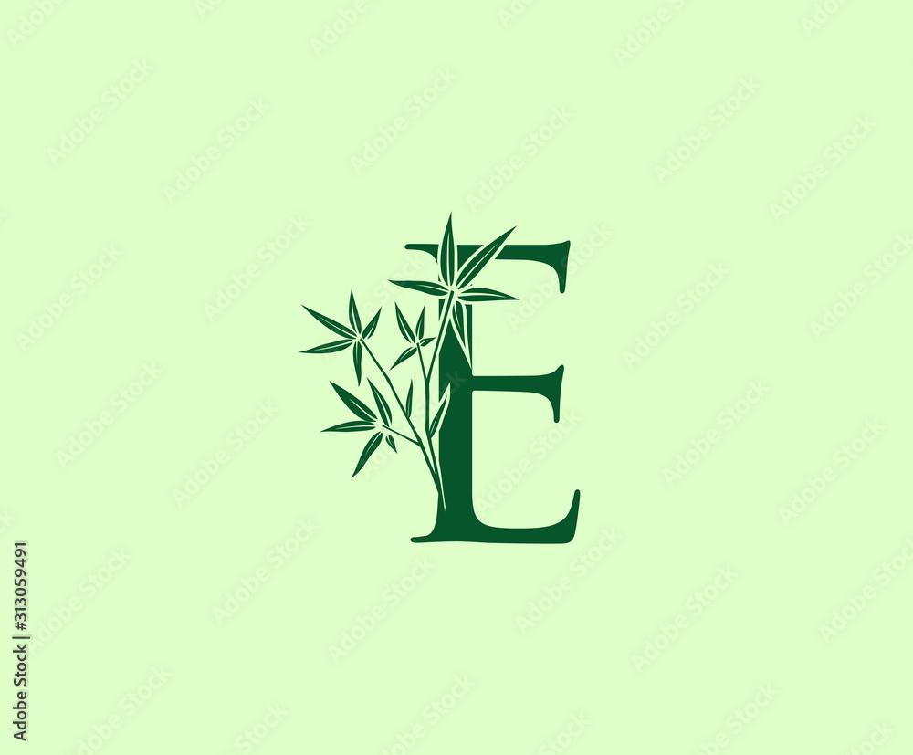 Green Bamboo E Letter logo icon design