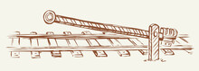 Railroad Barrier. Vector Drawing