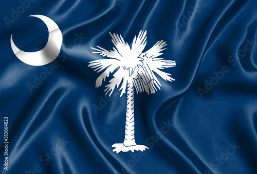 Obraz Flag of South Carolina silk - fototapety do salonu