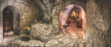 Cavern Church Of Santa Maria Infra Saxa In The Frassassi And Valadier Temple Area - Marche Region - Italy