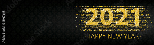 Photo Long Black Banner Ornaments 2021 Happy New Year