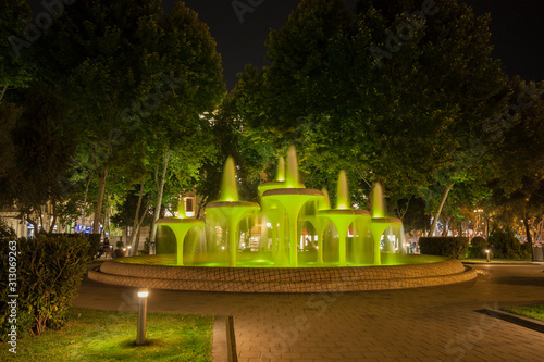 Canvas Print Beautiful fountain at night in the Governor's garden of the city of Baku of the Republic of Azerbaijan
