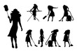 Vector silhouette of collection of cleaning lady with different tools on white background. Symbol of girl, house, work.