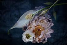 Flower Arrangement, White On Dark Background