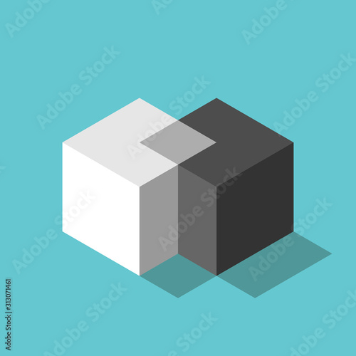 Fototapeta Two isometric cubes merging