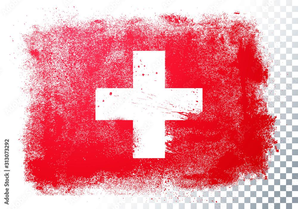 Fototapeta Vector Illustration Grunge And Distressed Flag Of Switzerland