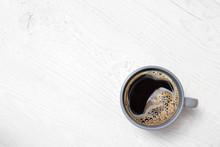 Black Coffee In A Blue-grey Ce...