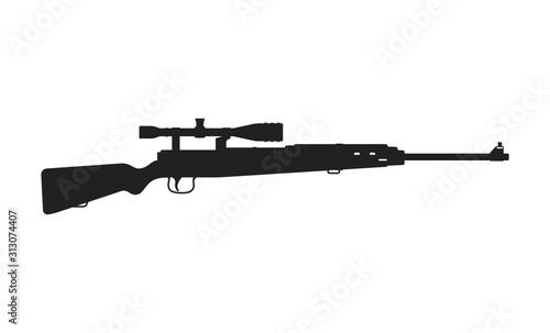 Fotografía  Black silhouette of sniper rifle