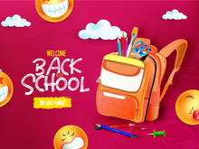 Back To School Sale Design With Colorful Pencil, Brush And Other School Items On Yellow Background