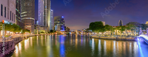 Boat Quay by night look from Anderson Bridge Canvas Print