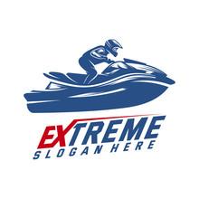 Jet Ski Sports Logo Vector, Ex...