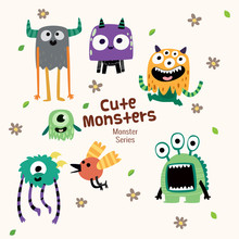 Cute Monster Characters Collection With Funny Expression For Kids