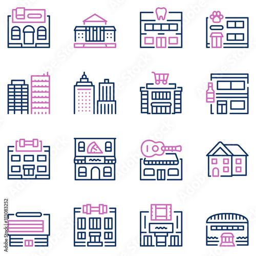 Fototapeta City locations color linear icons vector set obraz
