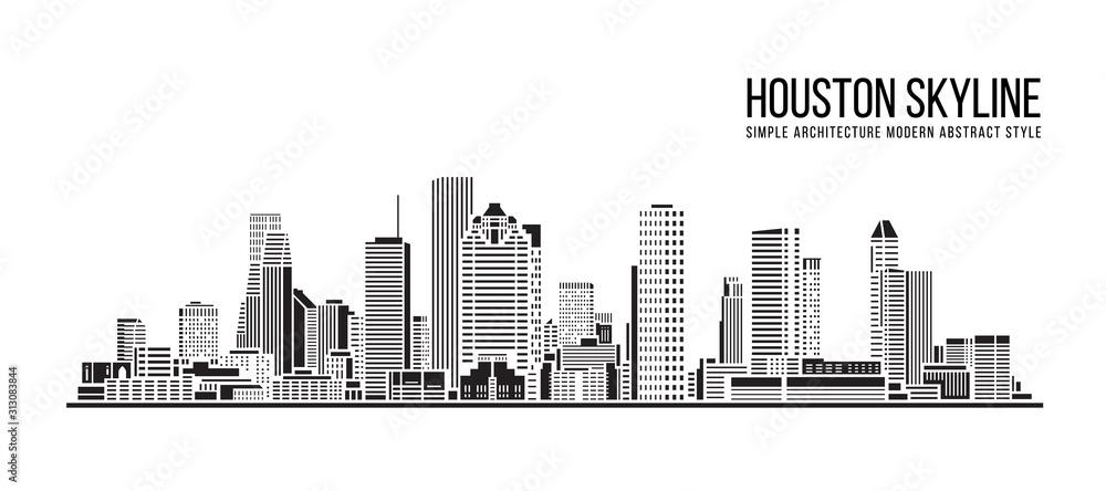 Fototapeta Cityscape Building Simple architecture modern abstract style art Vector Illustration design -  Houston city